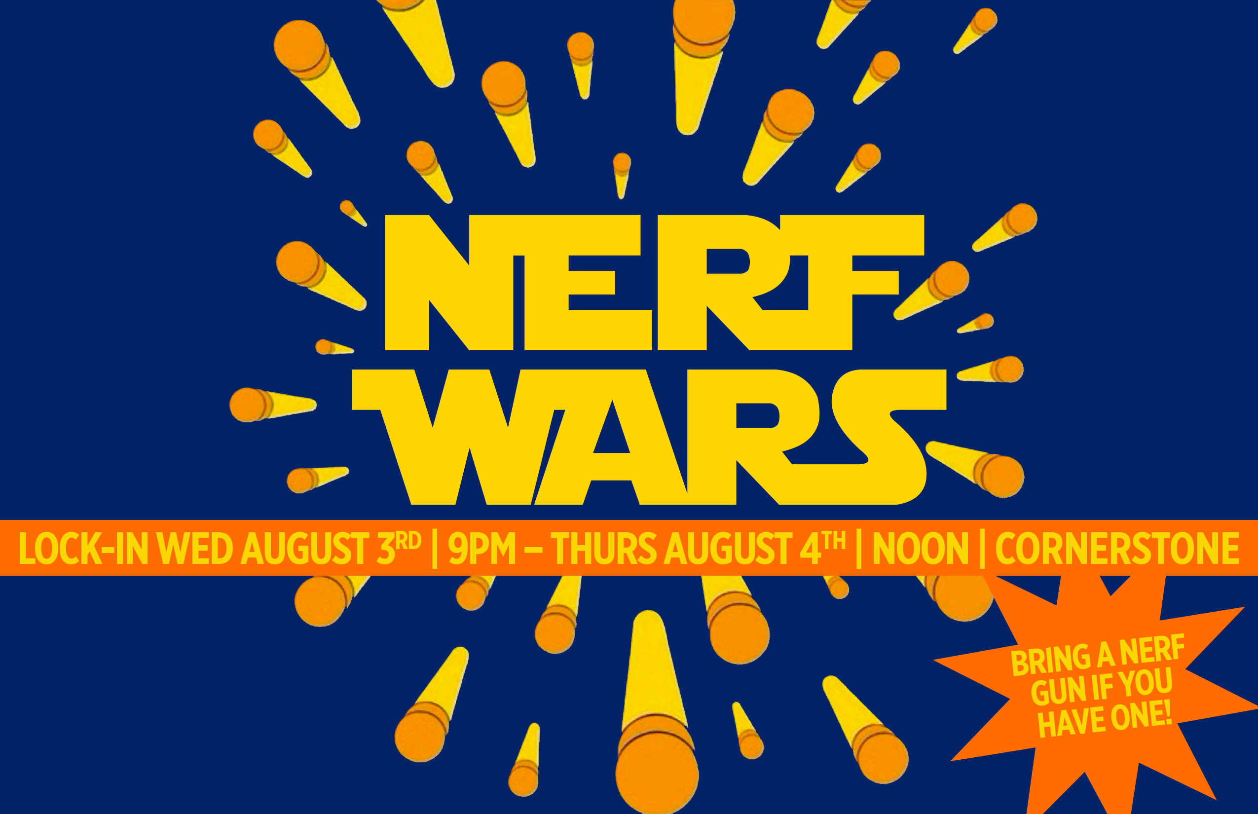 Back by popular demand, we will be having another Nerf War at CSM! This  event will be overnight, August 3-4, from 9pm-Noon. We will hang out, eat  snacks, ...